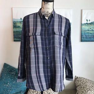 LOU & grey  plaid blue button down shirt Top S